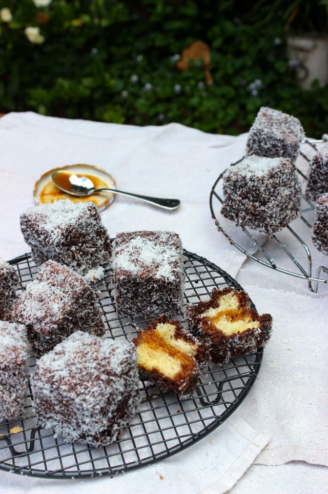 Salted caramel lamingtons